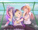 3girls belt blonde_hair blush brown_eyes brown_hair chain-link_fence collarbone covering_mouth eyebrows_visible_through_hair eyepatch fence hair_ornament hair_over_one_eye hand_over_own_mouth hat hayasaka_mirei highres idolmaster idolmaster_cinderella_girls little_riddle long_hair looking_at_viewer multicolored_hair multiple_girls ninomiya_asuka open_mouth outdoors pink_hair purple_eyes purple_hair rokettopencil shirasaka_koume short_hair skirt smile v x_hair_ornament