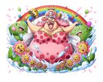 1girl balloon bodskih breasts cake charlotte_linlin cleavage dress fat flower food hat jewelry leaf lipstick long_hair makeup official_art one_piece open_mouth pink_hair pirate_hat rainbow ring solo teenage teeth transparent_background umbrella