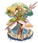 1girl blonde_hair blue_eyes boots bow breasts bridal_gauntlets brown_footwear cleavage dress forehead_jewel frilled_dress frills full_body green_bow green_dress hair_bow holding holding_spear holding_weapon koshi_(meermisa) long_hair looking_at_viewer low-tied_long_hair pauldrons polearm riesz seiken_densetsu seiken_densetsu_3 small_breasts solo spear tree water weapon