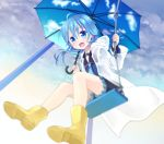 ahoge asymmetrical_hair blue_eyes blue_hair boots cloud cloudy_sky kantai_collection minazuki_(kantai_collection) nagasioo shorts sky sky_print twitter_username umbrella yellow_footwear