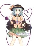 1girl binan_xian_lu black_hat chinese_commentary commentary_request eyebrows_visible_through_hair feet_out_of_frame floral_print frilled_shirt_collar frills green_eyes green_hair green_skirt hair_between_eyes hand_up hat hat_ribbon heart heart_of_string komeiji_koishi long_sleeves looking_at_viewer petticoat ribbon shirt short_hair simple_background skirt smile solo standing third_eye touhou white_background wide_sleeves yellow_ribbon yellow_shirt
