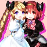 2girls armor blonde_hair blush cosplay dress elbow_gloves elise_(fire_emblem_if) elise_(fire_emblem_if)_(cosplay) fire_emblem fire_emblem:_monshou_no_nazo fire_emblem_if gloves hair_ribbon hairband headband highres lazulia long_hair looking_at_viewer maria_(fire_emblem) multiple_girls open_mouth purple_eyes red_eyes red_hair ribbon short_hair simple_background smile