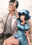 1boy 1girl arm_support arm_up bench black_hair black_pants blue_dress blue_hat blue_shorts closed_mouth commentary dress facial_hair green_eyes grey_shirt hat highres labcoat lain looking_up marker okabe_rintarou open_mouth pants park_bench shiina_mayuri shirt short_dress short_sleeves shorts shorts_under_dress smile steins;gate stubble white_coat