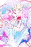 2girls ;d asako_(itiba) bishoujo_senshi_sailor_moon blonde_hair boots bracelet chibi_usa cowboy_shot double_bun dress eyes_closed flower hair_ornament hairpin happy_birthday highres hug jewelry knee_boots long_hair multiple_girls one_eye_closed open_mouth petals pink_footwear pink_hair princess_serenity red_eyes red_flower red_rose rose sailor_chibi_moon sailor_moon short_hair small_lady_serenity smile super_sailor_chibi_moon super_sailor_moon tsukino_usagi twintails white_dress
