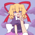 1girl :d adapted_costume blonde_hair blue_eyes blush breasts doll eyebrows_visible_through_hair hair_ribbon kakinoki_mikan_(kari) medicine_melancholy medium_breasts naughty_face open_mouth poison pov pov_hands puffy_short_sleeves puffy_sleeves red_ribbon ribbon short_sleeves smile touhou white_ribbon