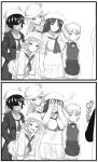 2koma 5girls :d :o apron bangs bartender blouse blunt_bangs blush blush_stickers bow bowtie breasts censored closed_mouth comic commentary constricted_pupils covering_face curly_hair cutlass_(girls_und_panzer) dark_skin debutya_aki dixie_cup_hat dress_shirt embarrassed eyebrows_visible_through_hair flint_(girls_und_panzer) frilled_apron frills frown full-face_blush fume girls_und_panzer greyscale hair_bow hair_over_one_eye hand_in_pocket handkerchief hands_on_legs hat hat_feather highres holding holding_microphone jacket leaning_forward light_frown long_hair long_skirt long_sleeves maid_headdress medium_breasts microphone midriff military_hat miniskirt monochrome motion_lines mouth_hold multiple_girls murakami_(girls_und_panzer) navel neckerchief ogin_(girls_und_panzer) ooarai_naval_school_uniform open_mouth out_of_frame penis_awe pipe pleated_skirt rum_(girls_und_panzer) sailor sailor_collar school_uniform shirt short_hair skirt sleeves_rolled_up small_breasts smile smirk standing sweat sweatdrop v-shaped_eyebrows vest waist_apron wing_collar