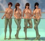 3d 4girls areolae barefoot black_eyes black_hair breasts brown_eyes brown_hair dead_or_alive feet female full_body kasumi_(doa) kokoro_(doa) legs lei_fang lips long_hair looking_at_viewer mila_(doa) multiple_girls navel nipples nude orange_ribbon outdoors ponytail pool pubic_hair pussy radianteld red_eyes red_hair short_hair side_ponytail soles source_filmmaker thighs tied_hair trimmed_pubic_hair wet wet_hair xps