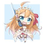 1girl :d ahoge arm_up bangs blue_background blue_eyes blue_legwear blush boots bow breasts chibi cleavage commentary_request eyebrows_visible_through_hair gloves hair_between_eyes hair_bow holding holding_sword holding_weapon knee_boots kneehighs light_brown_hair long_hair looking_at_viewer medium_breasts open_mouth pecorine pleated_skirt princess_connect! princess_connect!_re:dive puffy_short_sleeves puffy_sleeves red_bow red_skirt shachoo. short_sleeves skirt smile solo standing standing_on_one_leg sword tiara two-tone_background very_long_hair weapon white_background white_footwear white_gloves