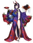 1girl alcohol bangs breasts cup fate/grand_order fate_(series) honjou_raita horns japanese_clothes kimono looking_at_viewer navel official_art oni open_mouth purple_eyes purple_hair sake short_hair shuten_douji_(fate/grand_order) small_breasts smile solo toes