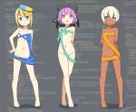3girls :d animal_ears animal_hat arm_behind_back arm_grab bangs bare_arms bare_legs bare_shoulders barefoot black_hat blonde_hair blue_eyes blurry blurry_background blush breasts cat_ears cat_hat chinese_commentary closed_mouth collarbone commentary_request dark_skin depth_of_field eyebrows_visible_through_hair groin hair_between_eyes hand_on_hip hat hatsunatsu head_tilt heterochromia legs_crossed multicolored multicolored_clothes multicolored_hat multiple_girls navel open_mouth original personification purple_hair red_eyes revealing_clothes short_hair silver_hair small_breasts smile standing twitter_username watson_cross yellow_eyes