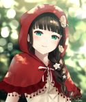 aqua_eyes bangs black_hair blunt_bangs blurry blurry_background bokeh braid capelet cosplay depth_of_field flower grimm's_fairy_tales hair_over_shoulder hood hood_up kurosawa_dia little_red_riding_hood little_red_riding_hood_(grimm) little_red_riding_hood_(grimm)_(cosplay) long_hair looking_at_viewer love_live! love_live!_sunshine!! mole mole_under_mouth papi_(papiron100) parted_lips red_capelet red_hood signature single_braid smile solo upper_body