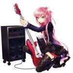 1girl bass_guitar black_footwear black_legwear black_skirt blue_eyes boots dress_shirt full_body hair_between_eyes high-waist_skirt holding holding_instrument instrument layered_skirt long_hair looking_at_viewer megurine_luka miniskirt one_knee one_side_up open_mouth pink_hair red_neckwear renta_(deja-vu) shirt simple_background skirt solo thighhighs very_long_hair vocaloid white_background white_shirt