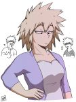 1girl 2boys bakugou_katsuki bakugou_masaru bakugou_mitsuki blonde_hair boku_no_hero_academia breasts cleavage expressionless family glasses husband_and_wife large_breasts mature milf multiple_boys red_eyes short_hair smile spiked_hair thumbs_up upper_body