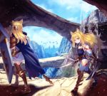 2girls :o animal_ears armored_boots bird black_leotard blonde_hair blue_cape blue_sky boots braid breasts brown_armor brown_belt cape cloud cloudy_sky commentary_request day dual_wielding eyebrows_visible_through_hair facing_away floating_hair french_braid full_body gauntlets gem hair_between_eyes hair_intakes hair_ornament highres holding holding_spear holding_sword holding_weapon hood hood_down hooded_cape kaina_(tsubasakuronikuru) landscape leotard light_particles long_hair long_sleeves looking_at_viewer looking_to_the_side moss multiple_girls orange_eyes original outdoors pauldrons polearm shade shadow shield sidelocks silhouette sky small_breasts spear standing strapless strapless_leotard sword tsurime walking water waterfall weapon wing_collar