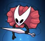 arthropod black_chitin breasts chitin clothed clothing dress empty_eyes female hollow_knight hollow_knight_(species) hornet_(hollow_knight) kurtassclear melee_weapon needle solo weapon white_chitin