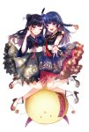 2girls :d ;d absurdres black_hair black_shirt black_skirt blue_eyes blue_hair blue_shirt blue_skirt boots braid floating_hair floral_print frilled_skirt frills full_body hair_bun hand_on_another's_hip hand_on_another's_shoulder haruming high_heel_boots high_heels highres kobayashi_aika long_hair love_live! love_live!_sunshine!! multiple_girls one_eye_closed open_mouth purple_eyes shirt short_sleeves single_braid skirt smile tsushima_yoshiko w white_background white_footwear