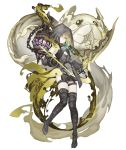 1girl arrow bare_shoulders belt birdcage boots bow_(weapon) brown_hair cage dark_persona detached_sleeves empty_eyes energy_arrow expressionless flat_chest full_body garter_straps green_eyes gretel_(sinoalice) half-nightmare hansel_(sinoalice) hood hood_up ji_no looking_at_viewer official_art pale_skin sinoalice solo thigh_boots thighhighs transparent_background weapon
