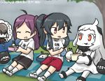 3girls :d ^_^ ahoge black_hair casual commentary_request dated destroyer_water_oni eating escort_fortress_(kantai_collection) eyes_closed food food_on_face gym_shorts gym_uniform hagikaze_(kantai_collection) hamu_koutarou handkerchief horns kantai_collection long_hair mittens multiple_girls northern_ocean_hime obentou one_side_up open_mouth orange_eyes partially_translated ponytail purple_hair rain red_eyes rice rice_on_face shinkaisei-kan shorts smile thought_bubble translation_request tree white_hair white_skin yahagi_(kantai_collection)