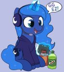! 2018 adorkable beverage blue_eyes bottle chibi chips_(food) clothed clothing controller cosmic_hair cute cutie_mark dialogue doritos dualshock_4 english_text equine eyebrows eyelashes feathered_wings feathers female feral food friendship_is_magic game_controller gaming glowing_horn grey_background hair headphones headset hoodie hooves horn levitation long_hair magic mammal microphone moon moozua mountain_dew my_little_pony open_mouth open_smile playing_videogame playstation_4 portrait princess_luna_(mlp) simple_background sitting smile soda solo sparkles speech_bubble text tongue video_games winged_unicorn wings