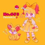 1girl :d bag blonde_hair bow character_name chibi dress fangs fennekin fire hair_bow handbag hat mameeekueya moemon multicolored_hair open_mouth personification poke_ball pokemon pokemon_(creature) puffy_sleeves red_eyes red_hair simple_background smile socks solo standing two-tone_hair white_hat white_legwear yellow_background yellow_bow yellow_dress yellow_footwear