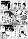 +++ ... 4girls :3 ^_^ ^o^ akagi_(kantai_collection) collision comic commentary_request eyes_closed greyscale hair_between_eyes hakama hakama_skirt heart highres houshou_(kantai_collection) japanese_clothes kaga_(kantai_collection) kantai_collection kimono long_hair monochrome motion_lines multiple_girls munmu-san open_mouth ponytail short_hair shorts side_ponytail smile speech_bubble speed_lines spoken_ellipsis star starry_background tasuki thought_bubble translation_request zuihou_(kantai_collection)