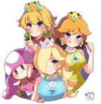 4girls :3 bangs blue_dress blue_eyes blush braid breasts closed_mouth commentary crown dress earrings herunia_kokuoji index_finger_raised jewelry large_breasts licking_lips mario_tennis multiple_girls mushroom pink_hair princess_daisy princess_peach red_vest rosetta_(mario) shirt signature sleeveless toadette tongue tongue_out twintails vest yellow_shirt