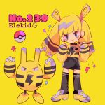1girl bangs black_legwear blonde_hair blunt_bangs bow chains elekid gen_2_pokemon hair_bow head_tilt highres lightning_bolt long_hair long_sleeves looking_at_viewer mameeekueya moemon personification poke_ball pokemon pokemon_(creature) shirt shoes simple_background striped twintails yellow_background yellow_footwear yellow_shirt