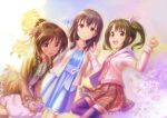 3girls :d bangs bench bending_forward blue_dress brown_eyes brown_hair camera cardigan commentary_request cowboy_shot cropped_legs dress dutch_angle feet_out_of_frame flower folded_leg frilled_skirt frills fujiwara_hajime gradient gradient_background hair_bobbles hair_bun hair_flower hair_ornament hair_ribbon hands_together idolmaster idolmaster_cinderella_girls imai_kana jewelry long_hair long_sleeves looking_at_viewer medium_hair multiple_girls necklace open_cardigan open_clothes open_mouth petticoat pink_cardigan pink_dress pink_ribbon pink_shirt plaid plaid_skirt purple_legwear ribbon rose scrunchie shirt short_hair sitting skirt smile standing standing_on_one_leg takamori_aiko takoyaki_(roast) thighhighs twintails upper_teeth yellow_cardigan yellow_flower yellow_rose