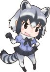5_fingers alpha_channel animal_humanoid anime biped black_clothing blue_clothing blush bow_tie breasts brown_eyes chibi clothing common_raccoon_(kemono_friends) cute_fangs digital_drawing_(artwork) digital_media_(artwork) female fist footwear front_view gloves_(marking) grey_hair grey_stripes grey_tail hair hand_on_hip humanoid humanoid_hands inner_ear_fluff japanese kemono_friends legwear light_skin long_tail looking_at_viewer mammal markings multicolored_hair official_art open_mouth open_smile procyonid raccoon_humanoid ringed_tail shirt shoes short_hair simple_background skirt small_breasts smile socks solo standing striped_tail stripes tan_skin thigh_socks transparent_background two_tone_hair two_tone_tail unknown_artist white_hair white_tail