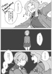 2girls ^_^ asuka_(junerabitts) bomber_jacket braid darjeeling eyebrows_visible_through_hair eyes_closed faceless faceless_female french_braid girls_und_panzer greyscale hair_intakes jacket kay_(girls_und_panzer) long_hair monochrome multiple_girls musical_note outstretched_arms saunders_military_uniform spoken_musical_note st._gloriana's_military_uniform tank_top translation_request