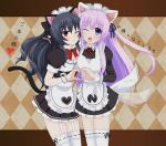 2girls ;d alternate_costume animal_ears apron argyle argyle_background black_dress black_hair blush cat_ears cat_tail commentary commentary_request cowboy_shot dress enmaided garter_straps hair_between_eyes head_to_head heart heart_hands long_hair long_sleeves looking_at_viewer maid maid_headdress multiple_girls nepgear neptune_(series) one_eye_closed open_mouth puffy_short_sleeves puffy_sleeves purple_eyes purple_hair red_eyes short_sleeves smile tail thighhighs translation_request uni_(choujigen_game_neptune) very_long_hair waruga white_apron white_legwear