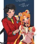 2girls bishoujo_senshi_sailor_moon black_hair blue_eyes crescent double_bun earrings eternal_sailor_moon facial_mark forehead_mark formal h_cheomji hair hair_ornament hairclip jewelry long_hair low_ponytail microphone multiple_girls music necktie sailor_moon seiya_kou singing star star_earrings translation_request tsukino_usagi twintails very_long_hair work_in_progress yellow_neckwear