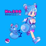 1girl animal_ears azurill bag blue_background blue_dress blue_footwear blue_hair blush blush_stickers capelet character_name child dress earrings english_text female flat_chest full_body gen_3_pokemon hands_together hands_up long_sleeves looking_to_the_side mameeekueya nervous open_mouth personification poke_ball poke_ball_(generic) poke_ball_theme pokemon pokemon_(creature) pokemon_number running shiny shiny_hair shoes short_hair simple_background sitting socks text_focus white_legwear zipper_pull_tab