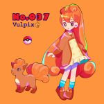 1girl black_eyes blue_legwear brown_dress character_name child dress english_text female flat_chest fox full_body gen_1_pokemon long_hair long_sleeves looking_at_viewer mameeekueya open_mouth orange_background personification poke_ball poke_ball_(generic) poke_ball_theme pokemon pokemon_(creature) pokemon_number red_footwear red_hair shiny shiny_hair shoes simple_background socks standing text_focus very_long_hair vulpix