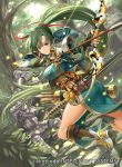 1girl armor armored_boots arrow boots bow_(weapon) breasts brown_legwear day dress dutch_angle fingerless_gloves fire_emblem fire_emblem:_rekka_no_ken floating_hair forest from_behind gloves green_dress green_eyes green_gloves green_hair hair_between_eyes hair_ornament hair_ribbon helmet holding holding_arrow holding_bow_(weapon) holding_weapon i-la kneehighs leg_up long_hair looking_at_viewer lyndis_(fire_emblem) medium_breasts nature outdoors pants ponytail red_ribbon ribbon smile very_long_hair weapon