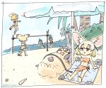 6+girls :d animal_ears barefoot beach beach_umbrella beach_volleyball black_hair blonde_hair brown_eyes buried cat_ears cat_tail commentary common_raccoon_(kemono_friends) day extra_ears eyes_closed fang fennec_(kemono_friends) fox_ears green_hair jumping kaban_(kemono_friends) kemono_friends multiple_girls open_mouth outdoors palm_tree panzuban sand sand_cat_(kemono_friends) seashell serval_(kemono_friends) serval_ears serval_tail shell short_hair sleeping smile tail tree tsuchinoko_(kemono_friends) umbrella