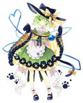 1girl :3 adapted_costume ankle_cuffs blue_footwear bow cat_tail commentary_request full_body gloves green_eyes green_hair hat hat_bow heart heart_of_string highres komeiji_koishi looking_at_viewer nikorashi-ka one_eye_closed paw_background paw_gloves paw_print paws solo standing tail tail_bow third_eye touhou white_background