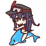 >:> +_+ 1girl akatsuki_(kantai_collection) bikini blush chibi commentary_request dolphin flat_cap goggles goggles_on_head hat kantai_collection long_hair lowres navel purple_eyes purple_hair red_bikini riding scuba_gear simple_background solo swimsuit white_background yoru_nai