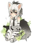 2015 aardwolf aardwolf_(kemono_friends) animal_humanoid armwear bare_shoulder biped black_eyes black_hair black_stripes black_tail blush breasts clothed clothing digital_drawing_(artwork) digital_media_(artwork) dress_shirt elbow_gloves eyelashes female fluffy fluffy_tail flying_sweatdrops footwear front_view frown full-length_portrait gloves gradient_background grass grey_clothing grey_hair grey_tail hair half-closed_eyes humanoid humanoid_hands hyena hyena_humanoid japanese kemono_friends kneeling legwear light_skin light_theme looking_away mammal multicolored_hair necktie pasikon plant ponytail portrait shirt shoes short_hair shorts shy simple_background sitting small_breasts solo stockings striped_clothing stripes sweat sweatdrop tan_skin thigh_highs two_tone_hair two_tone_tail wariza white_background