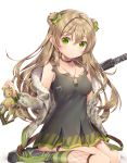1girl agrt ankle_cuffs assault_rifle bangs black_footwear blush bow breasts brown_hair bullpup camouflage choker closed_mouth collarbone commentary_request dog_tags double_bun dress eyebrows_visible_through_hair fur-trimmed_jacket fur_trim girls_frontline green_eyes gun hair_between_eyes hair_bow highres horizontal-striped_legwear horizontal_stripes jacket kel-tec_rfb long_hair mary_janes medium_breasts off_shoulder rfb_(girls_frontline) rifle shoes sitting socks solo striped striped_legwear stuffed_animal stuffed_toy teddy_bear wariza weapon zipper