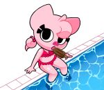 bikini clothing female flat_chested food gaturo looking_at_viewer mammal mina_(gaturo) pig pink_skin pool_(disambiguation) popsicle porcine sitting solo swimsuit water