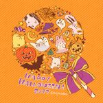 2017 autumn autumn_leaves bat bird bow broom bug bunny candle candy english food fox ghost halloween hamster happy_halloween hat hat_bow hedgehog highres jack-o'-lantern leaf mojacookie no_humans orange_background orange_bow original pumpkin purple_bow silk spider spider_web star striped striped_background twitter_username upside-down witch_hat