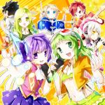 aisha_(elsword) ara_han black_hair chung_seiker crossover drum drumsticks elf elsword elsword_(character) eve_(elsword) facial_mark forehead_jewel googles green_eyes green_hair gumi idol instrument malmaron musical_note pointy_ears purple_eyes purple_hair raven_(elsword) red_hair rena_(elsword) silver_hair star tagme vocaloid