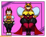 arthropod bee big_breasts border breasts cape charmy_bee clothing crossgender dreamcastzx1 female hair huge_breasts huge_thighs insect sonic_(series) tight_clothing voluptuous white_border