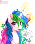 2015 ? brush bust_portrait colored_pencil dialogue english_text equine eyebrows eyelashes female feral friendship_is_magic glowing_horn hair hairspray hi_res horn levitation long_hair looking_at_viewer magic mammal multicolored_hair my_little_pony nude open_mouth portrait princess_celestia_(mlp) rainbow_hair simple_background solo speech_bubble talking_to_viewer teeth text tongue traditional_media_(artwork) url vird-gi white_background winged_unicorn wings