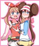 2girls arm_around_waist ass asymmetrical_docking bag bare_shoulders black_legwear blue_eyes blush border breast_grab breast_press breasts brown_hair collarbone embarrassed eyebrows_visible_through_hair fanny_pack female from_behind grabbing hairband hand_up haruka_(pokemon) haruka_(pokemon_oras) hat heart hug japanese_text kaimu_(qewcon) large_breasts long_hair long_sleeves looking_at_another looking_at_viewer looking_back medium_breasts mei_(pokemon) multiple_girls nose_blush open_mouth outline outside_border pantyhose pink_border pink_hair poke_ball_theme pokemon pokemon_(game) pokemon_bw2 pokemon_oras red_hairband red_shirt shiny shiny_hair shirt short_shorts shorts simple_background sleeveless sleeveless_shirt smile standing surprised sweat tied_hair translation_request twin_buns twintails visor_cap watch white_background white_shirt white_shorts wristwatch yellow_shorts yuri