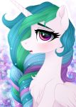 2018 abstract_background blush braided_hair bust_portrait chest_tuft equine eyebrows eyelashes feathered_wings feathers female feral friendship_is_magic fur hair hi_res horn long_hair looking_at_viewer mammal multicolored_hair my_little_pony nude open_mouth portrait princess_celestia_(mlp) purple_eyes rainbow_hair side_view solo teeth tongue tuft vird-gi white_feathers winged_unicorn wings