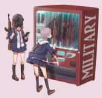 2girls ak-47 assault_rifle bag bullpup cellphone earrings explosive fn_scar gas_mask grenade gun jewelry long_hair m4_carbine mask multiple_girls necktie original phone rifle school_bag school_uniform short_hair simple_background smartphone steyr_aug suppressor tabao vending_machine weapon