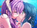 2girls air_bubble blue_hair blush bubble eyebrows_visible_through_hair female fish game_cg hand_on_another's_shoulder izumi_iko kiss multiple_girls surprised underwater yuri
