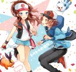 1boy 1girl :d black_footwear black_pants blue_eyes blue_jacket blue_shorts boots brown_eyes brown_hair collarbone denim denim_shorts eye_contact floating_hair hat holding holding_poke_ball hood hooded_jacket jacket leg_up long_hair looking_at_another open_mouth oshawott pants poke_ball pokeball_symbol pokemon pokemon_(creature) pokemon_(game) pokemon_bw red_footwear shiao shirt short_shorts shorts sleeveless sleeveless_shirt smile standing standing_on_one_leg tepig touko_(pokemon) touya_(pokemon) white_shirt wrist_cuffs